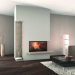 Ein modernes Wohnzimmer mit eingebautem Kamin